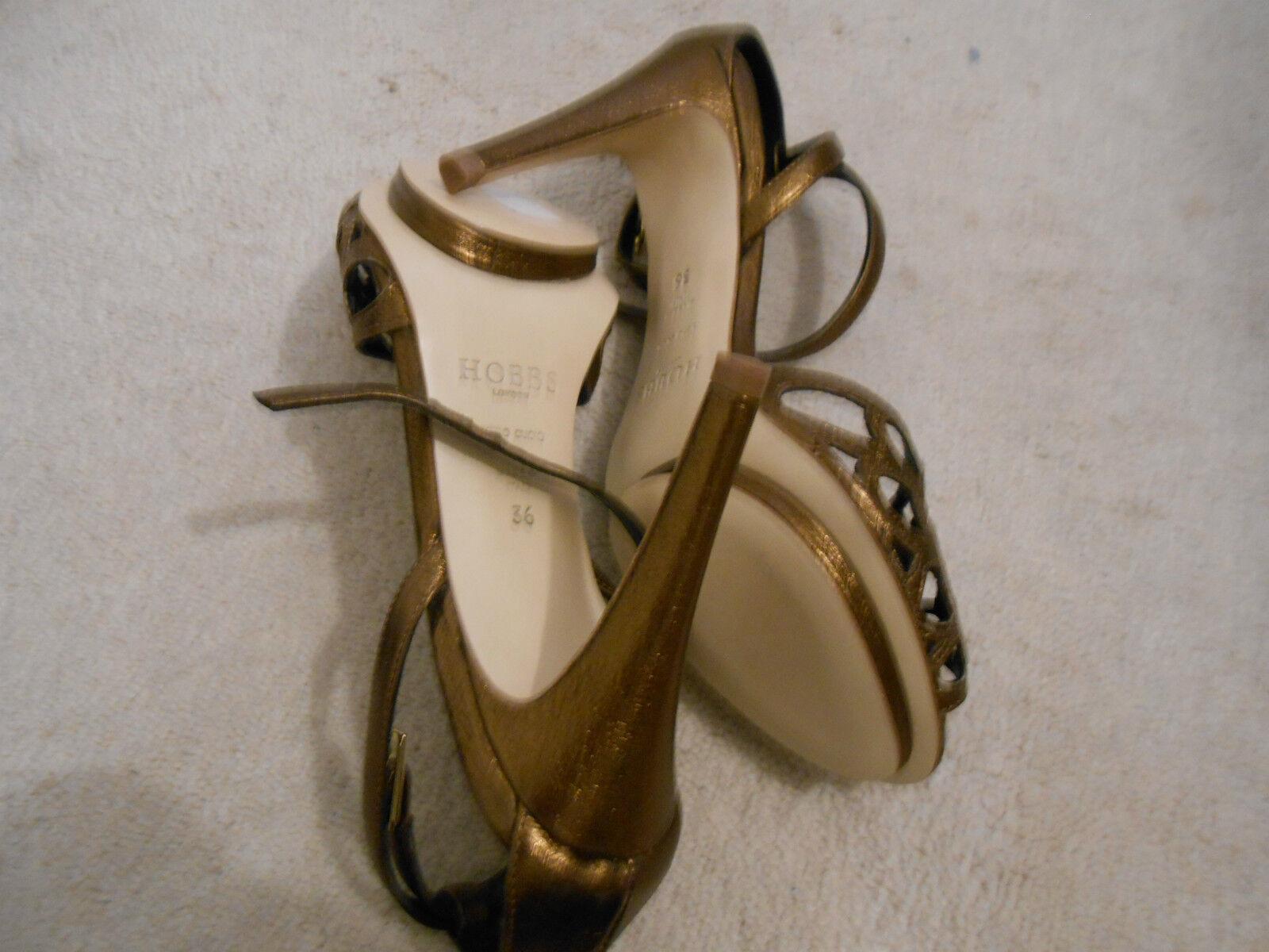 Descuento de liquidación Hobbs Bronze Leather Stiletto Heel Party Shoes Sandals (NEW) size 3.5-149.00