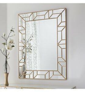 Verbier Large Modern Painted Gold Rectangle Overmantle Wall Mirror