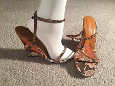Dolce & Gabbana Brown Orange Ivory Floral Stud Wedge Sandals - Sz. 39 (US 8.5)