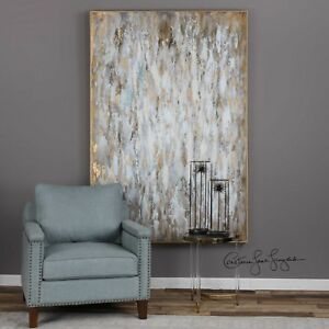 """FRAMED XXL 73"""" HAND PAINTED CANVAS ABSTRACT BRIGHT MORNING PAINTING MODERN ART"""