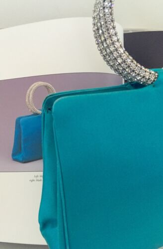 Satin À Zz Bleu Leiber Soie Turquoise Judith Strass Sac Main Bracelet Soirée 7SwHfwq