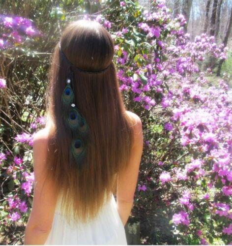 Women BOHO Syn suede Feather Peacock Braided Hair head band Wrap Headband Prop