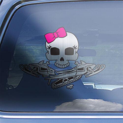Girls Snowmobile Crossbones Decal womens skull mountain snowmobiling sticker