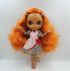 """12/"""" Neo Blythe Doll From Factory Jointed Body Super Black Skin Copper Short Hair"""