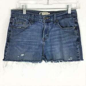 Levis 505 Womens 4 Frayed Cutoff Denim Jean Shorts Fitted Cotton Spandex Blue