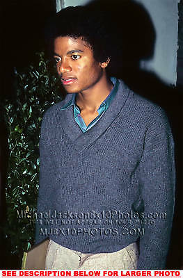 1 MICHAEL JACKSON 1982 BlueSweater RARE  PHOTO