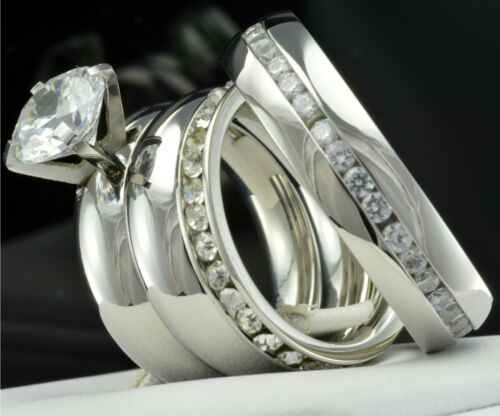 His Hers 4 pcs Womens Engagement Stainless Steel /& Mens Wedding Bridal Rings Set