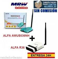 PACK ADAPTOR WIFI ALFA AWUS036NH + ROUTER ALFA R36.KIT WIFI RECEIVES/SHARES