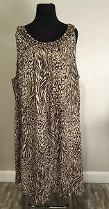 New-Maggie-Barnes-Plus-Sz-3X-Long-Sleeveless-Beaded-Animal-Print-Casual-Dress