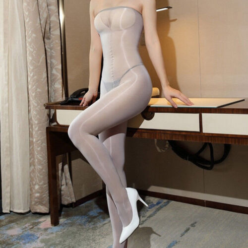 Women 8D Oil Shiny Glossy Pantyhose Body Stockings Tights Crotchless Bodysuit zx