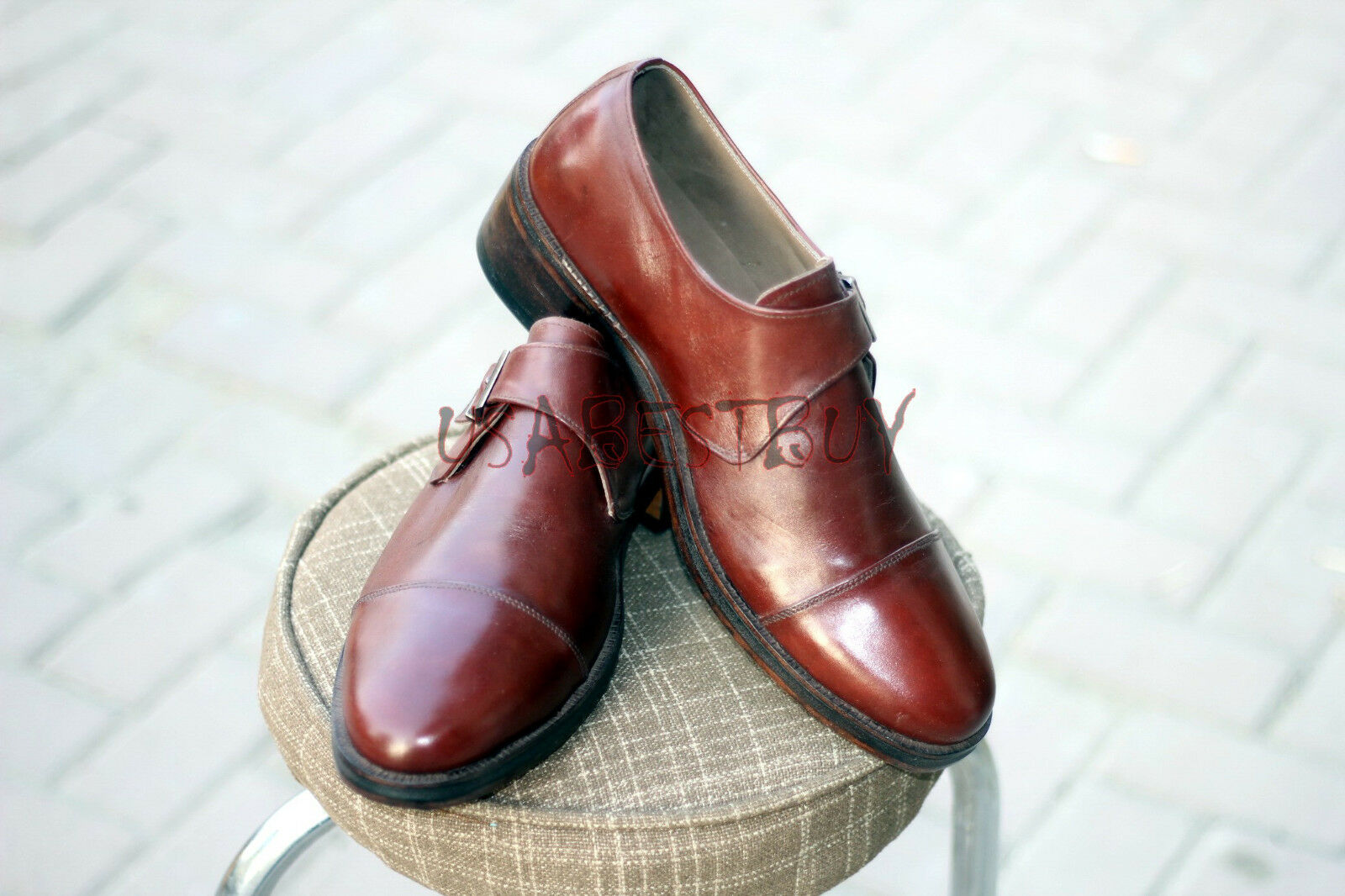 New New New Handmade Mens Single Strap Burgundy Real Leather shoes with 2 inches Heel 6ae48e
