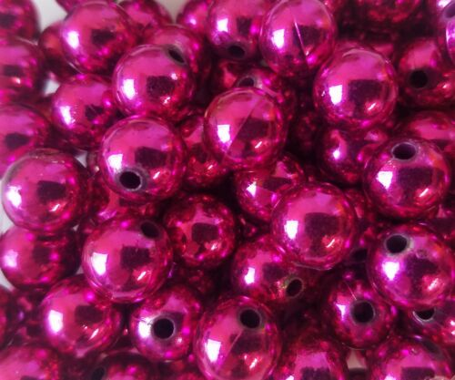 100 pcs Metallic Fuchsia Loose Artificial Plastic Pearls 10mm Round Craft Beads