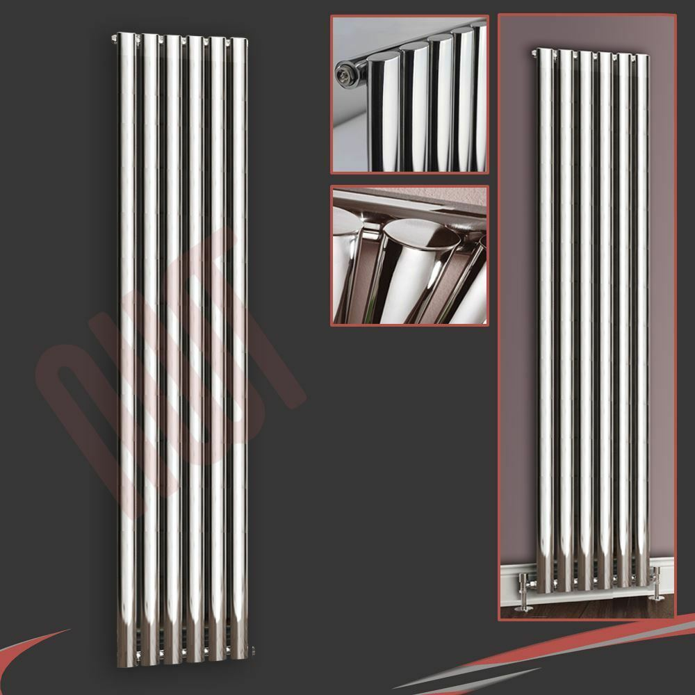 420mm(w) x 1800mm(h)  Brecon  verdeical Chrome Oval Tube Radiator 3200 BTUs