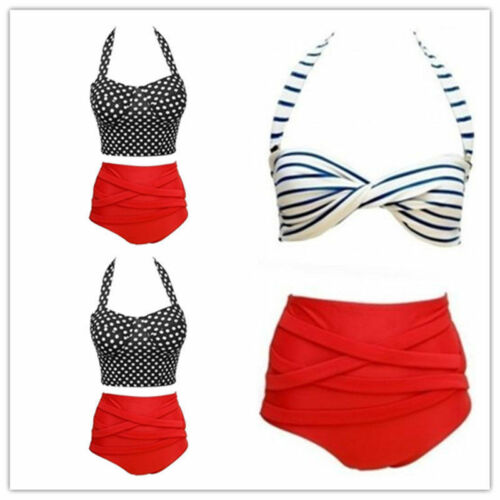 Vintage Retro Pin up Rockabilly Polka Dot High Waisted 50s Style Bikini Swimsuit