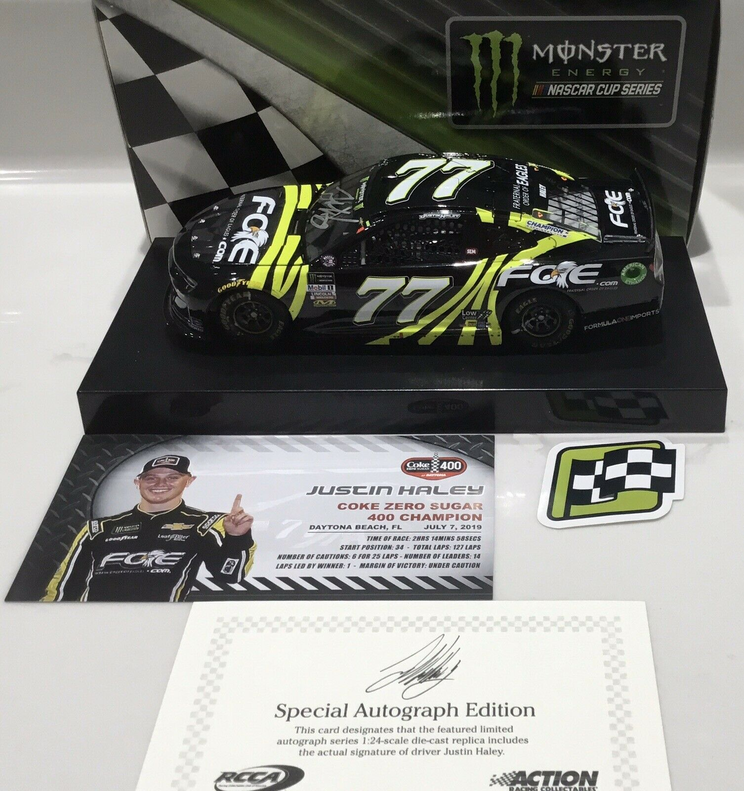 "2019 1 24  77 Justin Haley ""FOE"" Daytona Win - Car- Camaro ZL1-1 of 216 SD SHIP"