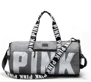 Image Is Loading Victoria Secret Pink Grey Duffle Bag Gym Travel