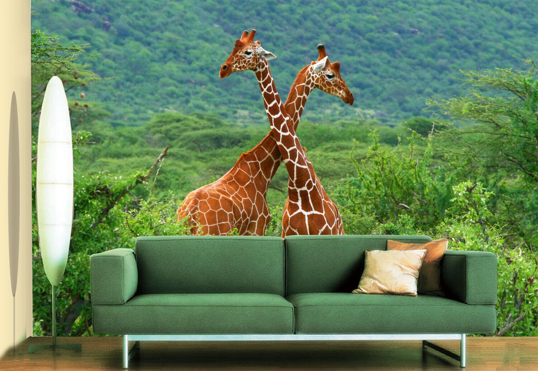 3D Dschungel Giraffe 8803 Tapete Wandgemälde Tapeten Bild Familie DE Jenny