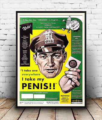 Vintage  Condom advertising poster reproduction. I take one everywhere