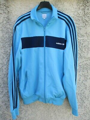 Veste ADIDAS bleu ciel rétro vintage années 80 tracktop jacket giacca jacke XL | eBay