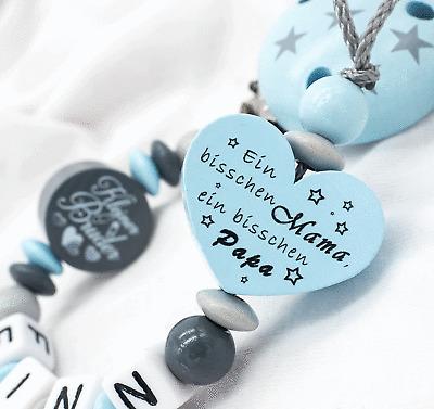 Schnullerkette mit Namen Bruder Junge bisschen Mama /& Papa blau Babygeschenk