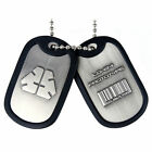 Metal Gear Solid Rising Dog Tags With LQ 84 I Prototype Logo Barcode and Rubber R