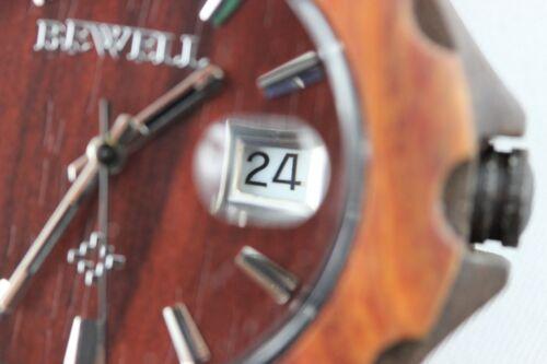BEWELL Holzuhr Datum Sandelholz 42mm A-Ware Geschenk Herrenuhr Damenuhr