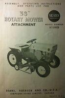 Sears Custom 6 Garden Tractor 36 Mower Deck Owner & Parts Manual 10pg 917.99620