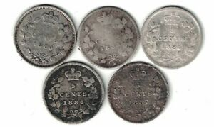 5-X-CANADA-5-CENT-SMALL-NICKELS-QUEEN-VICTORIA-STERLING-SILVER-COINS-1880H-1887