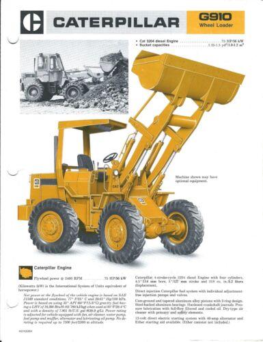 Equipment Brochure - Caterpillar - G910 - Wheel Loader - c1985 (E3990)