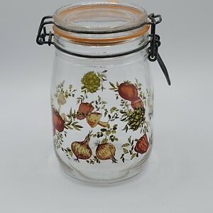 Vintage-ARC-Glass-1-Liter-Jar-Canister-Vegetables-Print-Wire-Bail-Lid-France-New