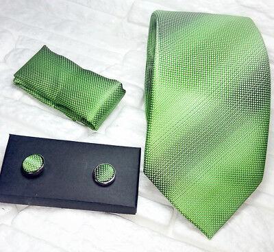 Cravatta Seta Verde + Gemelli Coordinati + Pochette Italia Business / Matrimonio Prezzo Di Vendita Diretto In Fabbrica