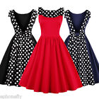 Sexy 50s 60s Swing Vintage Retro Housewife Pinup Rockabilly Evening Polka Dress