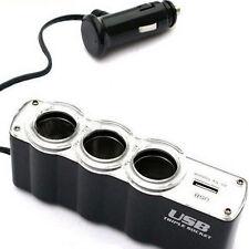 Car Decoration Accessories 3 Way Car Cigarette Lighter Socket Splotter+USB Port
