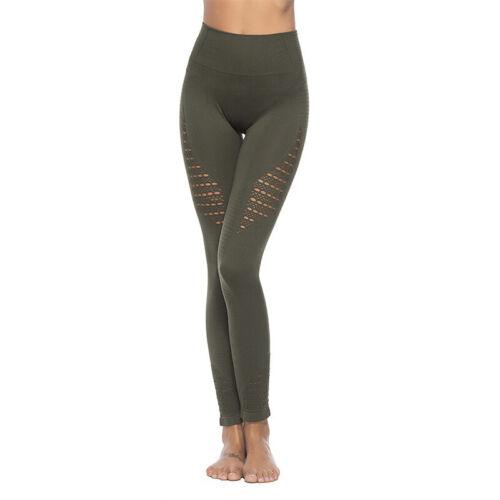 Damen High Waist Yoga Leggings Hose Fitness Jogging Hollow Laufhose Sporthose