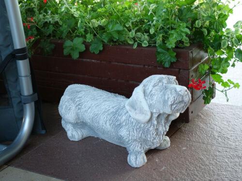Großer massiver Rauhaardackel Steinfigur Dackel Hund aus Steinguss frostfest