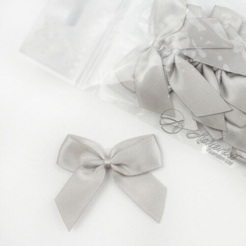 5cm Satin Bows Self Adhesive Silver