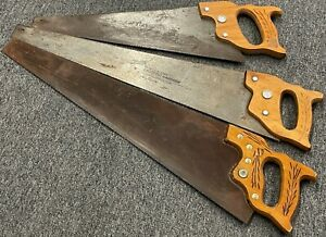 Vintage-Lot-of-3-DISSTON-20-034-Coutryside-26-034-Crosscut-Wood-Carpenters-Hand-Saws