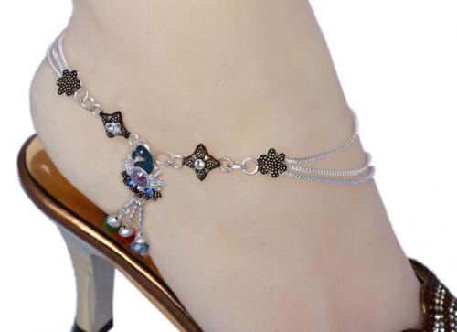 1 paire Bollywood Designer Ton Argent Indien Bracelets de cheville Payal CD18D