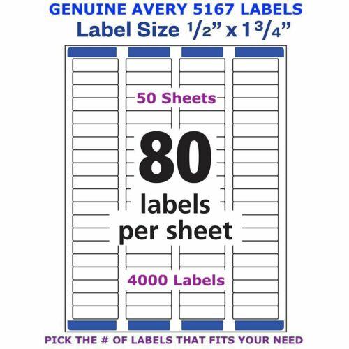 "5167 Avery Easy Peel Laser Return Address Labels 1//2/"" x 1 3//4/"" PICK YOUR OWN #"