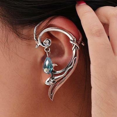 Gothic Punk Small Snake Wrap Ear Cuff Stud Earring w/ Dangle Bead for Left Ear