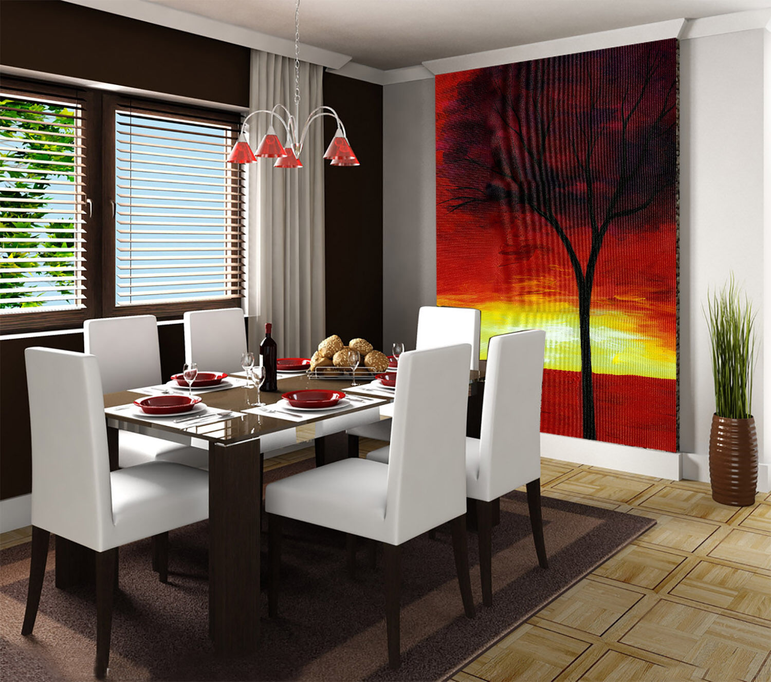3D Sunset Tree Painting Wall Paper Wall Print Decal Wall Deco Wall Indoor Murals