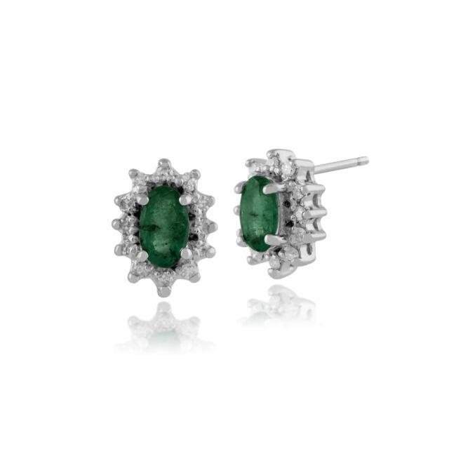 9ct Oro Bianco 0.46ct Smeraldo E Diamante Classico A Grappolo Orecchini A Perno