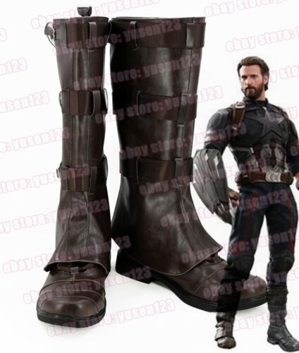 Avengers Infinity War Captain America Boots Shoes Cosplay Halloween Brown Shoes