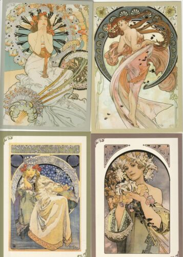 4 ALFONS MUCHA POSTCARDS CZECH