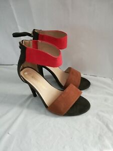 Color block Ankle Strap High Heels Size