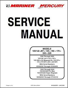 mercury mariner 105 140 jet 135 150 175 200 225 outboard motor rh ebay ie mercury service manual #33 mercury service manual #26
