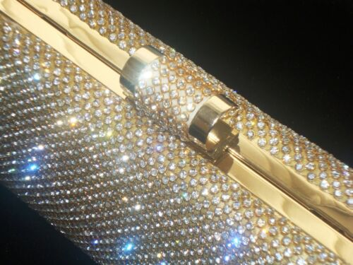 Large Gold Diamond Diamante Crystal Stone Evening bag Clutch Purse Party Prom