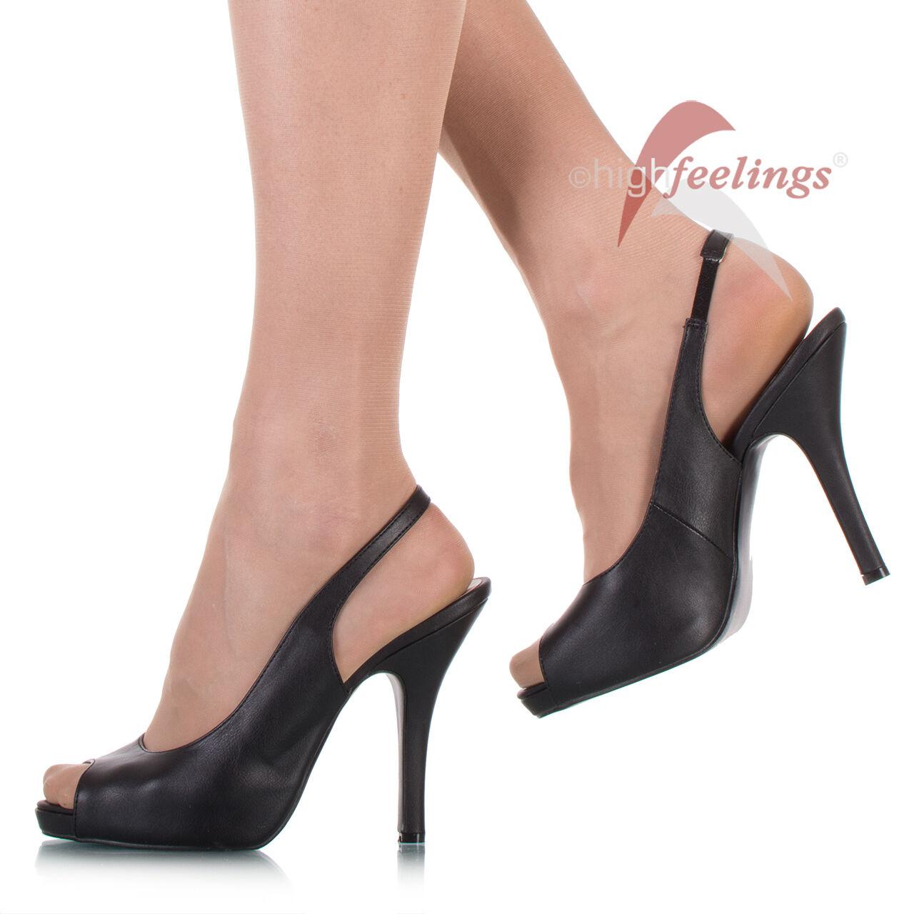 Femmes slingpumps grandes tailles 43 - 48 talons hauts environ 13 cm cuir synthétique noir