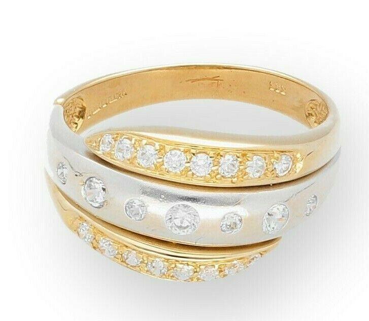 14Ct bianco e e e giallo oro Anello di Diamante simulato Cluster (Taglia o 1 2) 11mm più ampia 075bbe