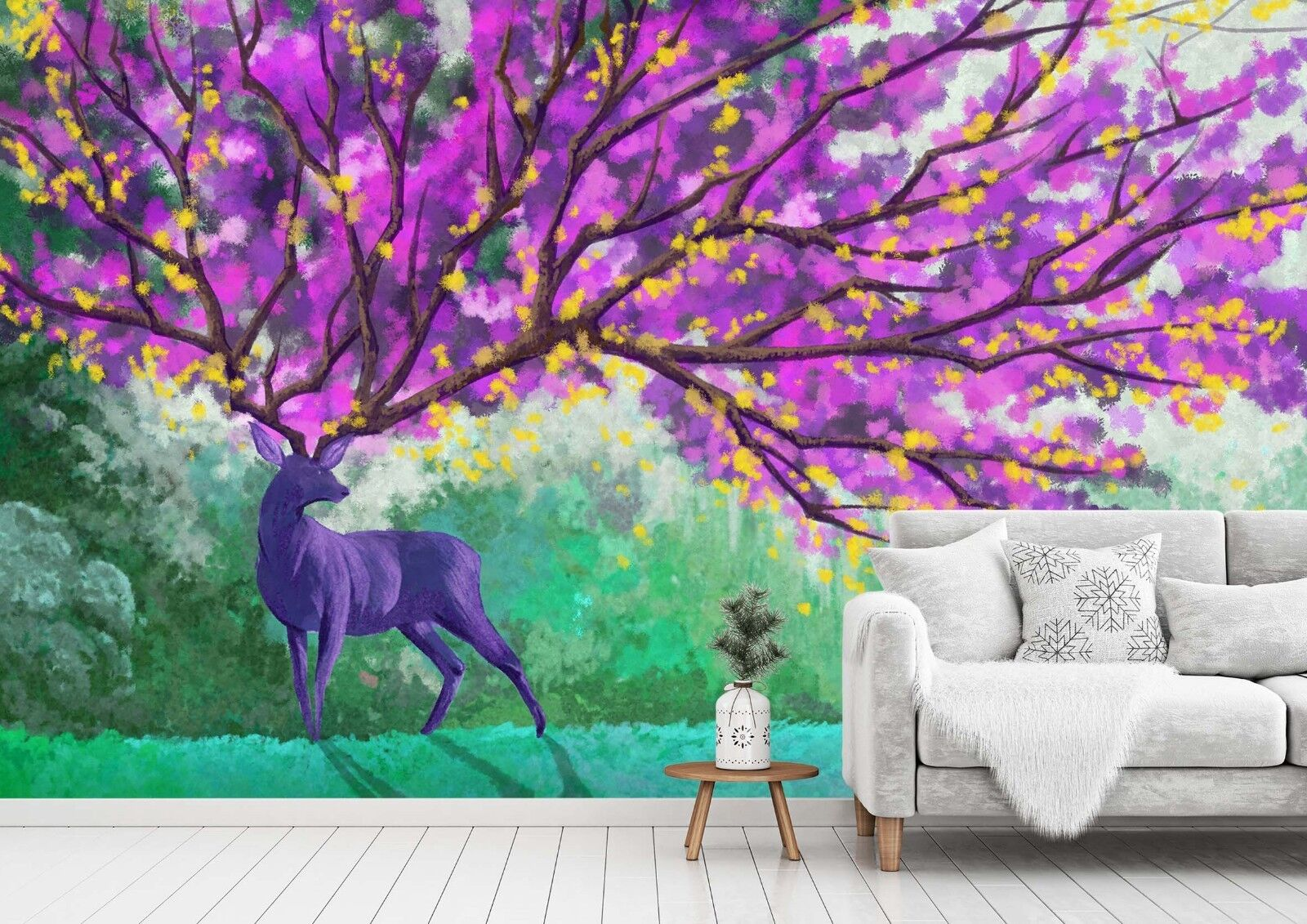 3D Tree Deer 7134 Wall Paper Print Wall Decal Deco Indoor Wall Murals US Summer
